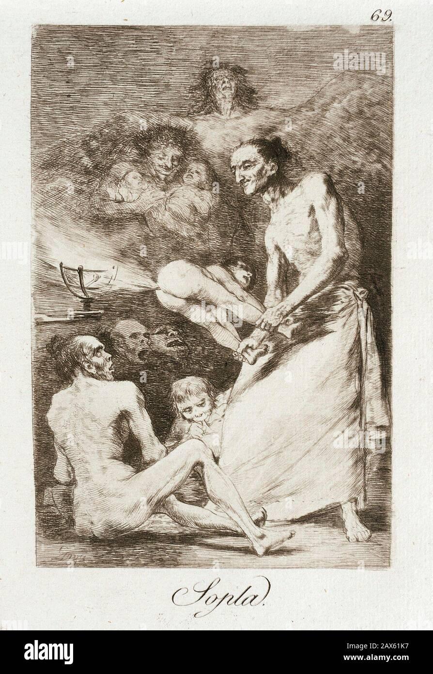 'Blow; Anglais: Espagne, 1799 TITRE ALTERNATIF: Sopla Los Caprichos Portefeuille: plaque: 69 gravures, estampes; gravure aquatinte, pointe sèche et burin plaque: 8 1/4 x 5 15/16 in. (20.96 x 15.08 cm); Matt 19 x 14 in. (48.26 x 35.56cm) Paul Rodman Mabury Trust Fund (63.11.69) Estampes et dessins; 1799QS date:P571,+1799-00-00T00:00:00Z/9; ' Banque D'Images