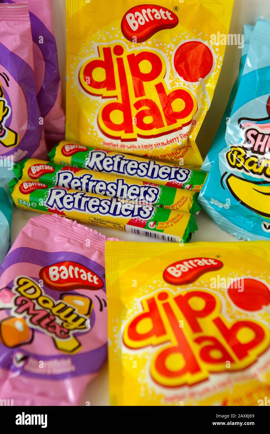 Produits sucrés pour enfants Barratt Banque D'Images