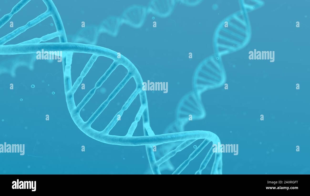 ADN hélice molécule bleu fond abstrait. Gros plan microscopique de la cellule torsadée. Science de la modification génétique et concept médical. Banque D'Images