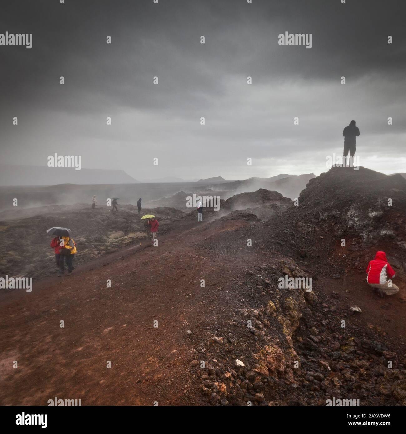 Pluie, géothermie - zone volcanique, Krafla, nord de l'Islande Banque D'Images