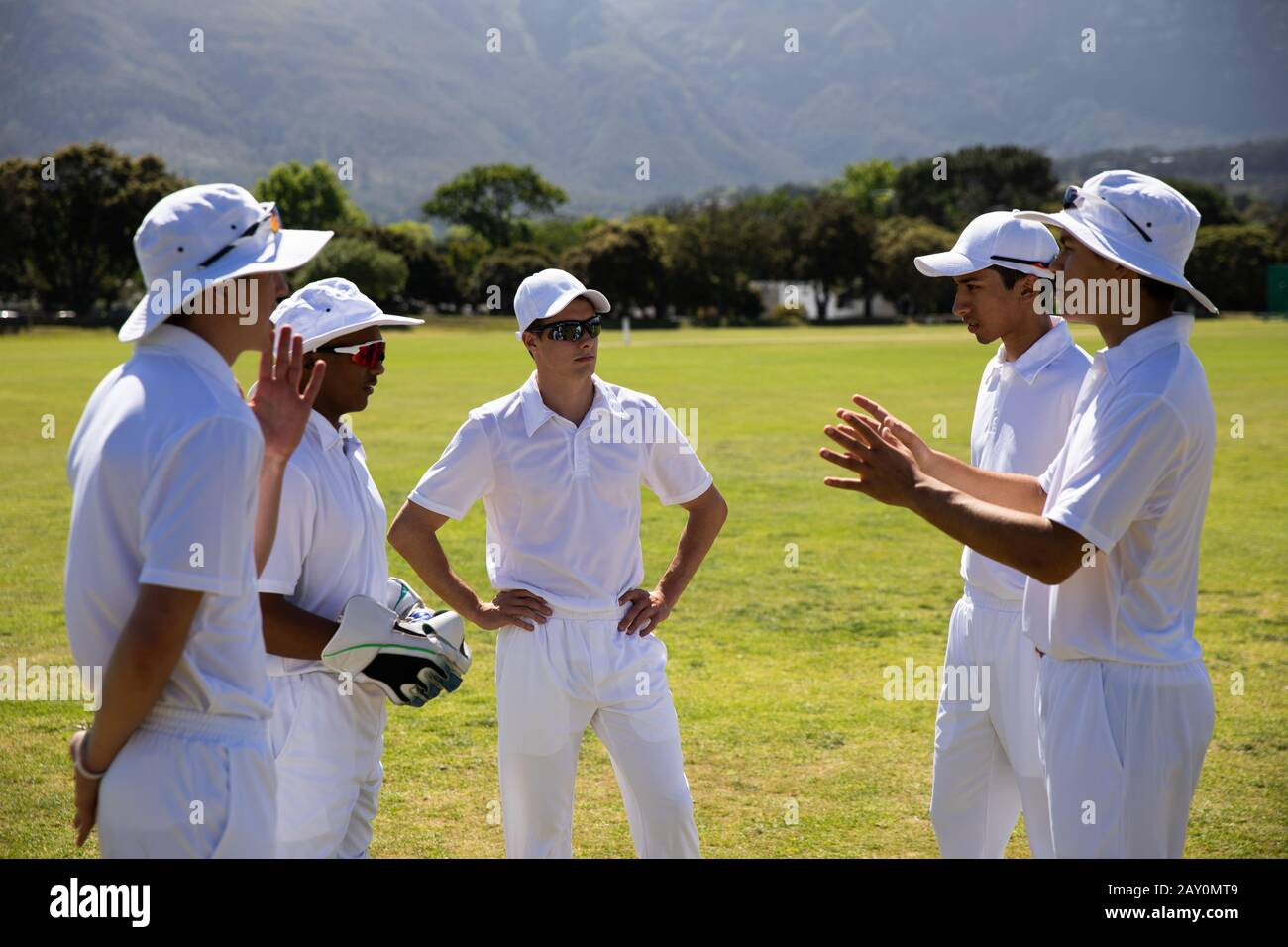 L'équipe de cricket discute sur un terrain Banque D'Images