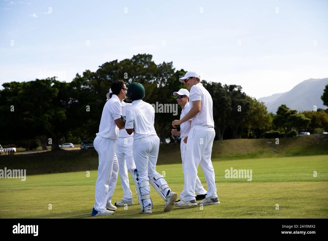 Les joueurs de cricket discutent sur le terrain Banque D'Images