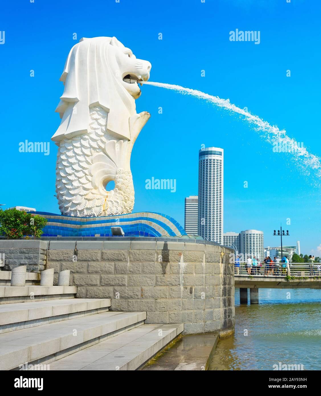 Statue du Merlion Singapour ville symbole Banque D'Images