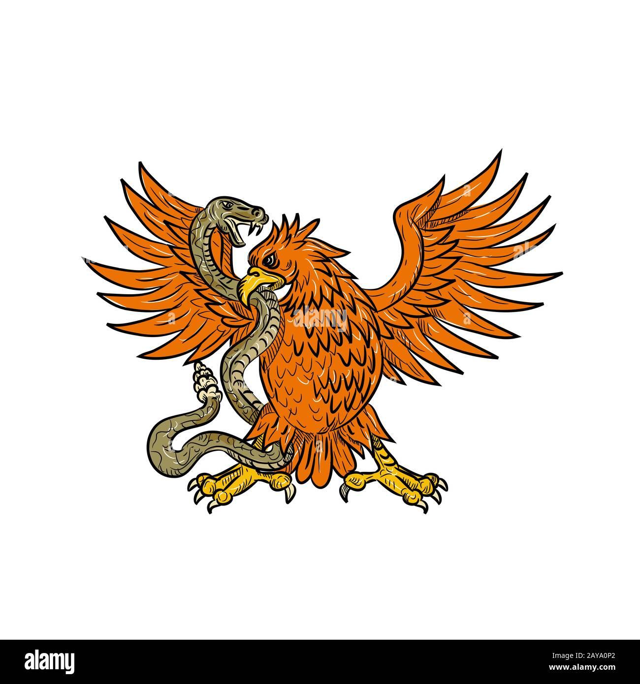 Dessin de Rattlesnake à motif aigle doré Banque D'Images