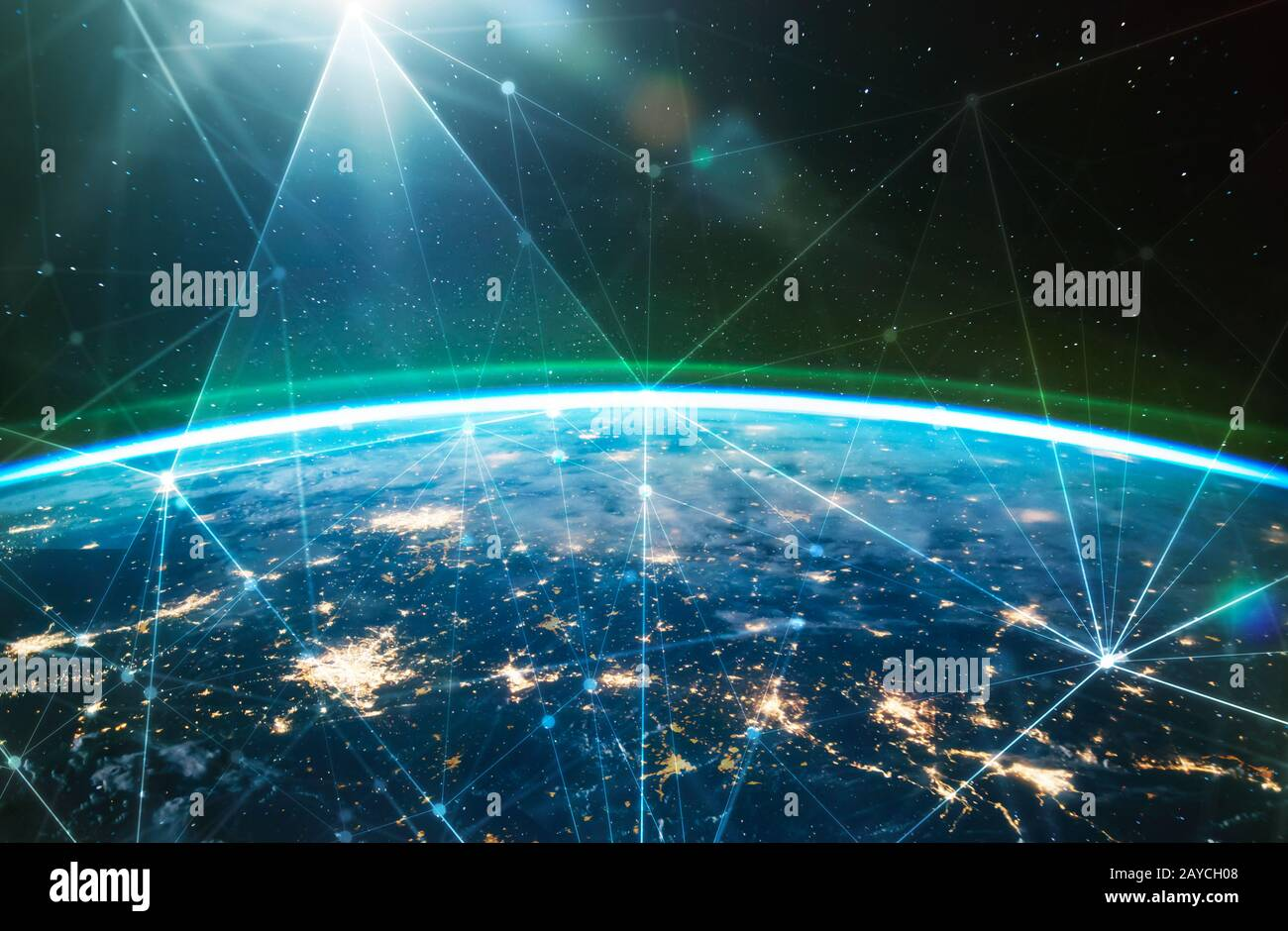 Réseau connecté sur la planète Terre Banque D'Images