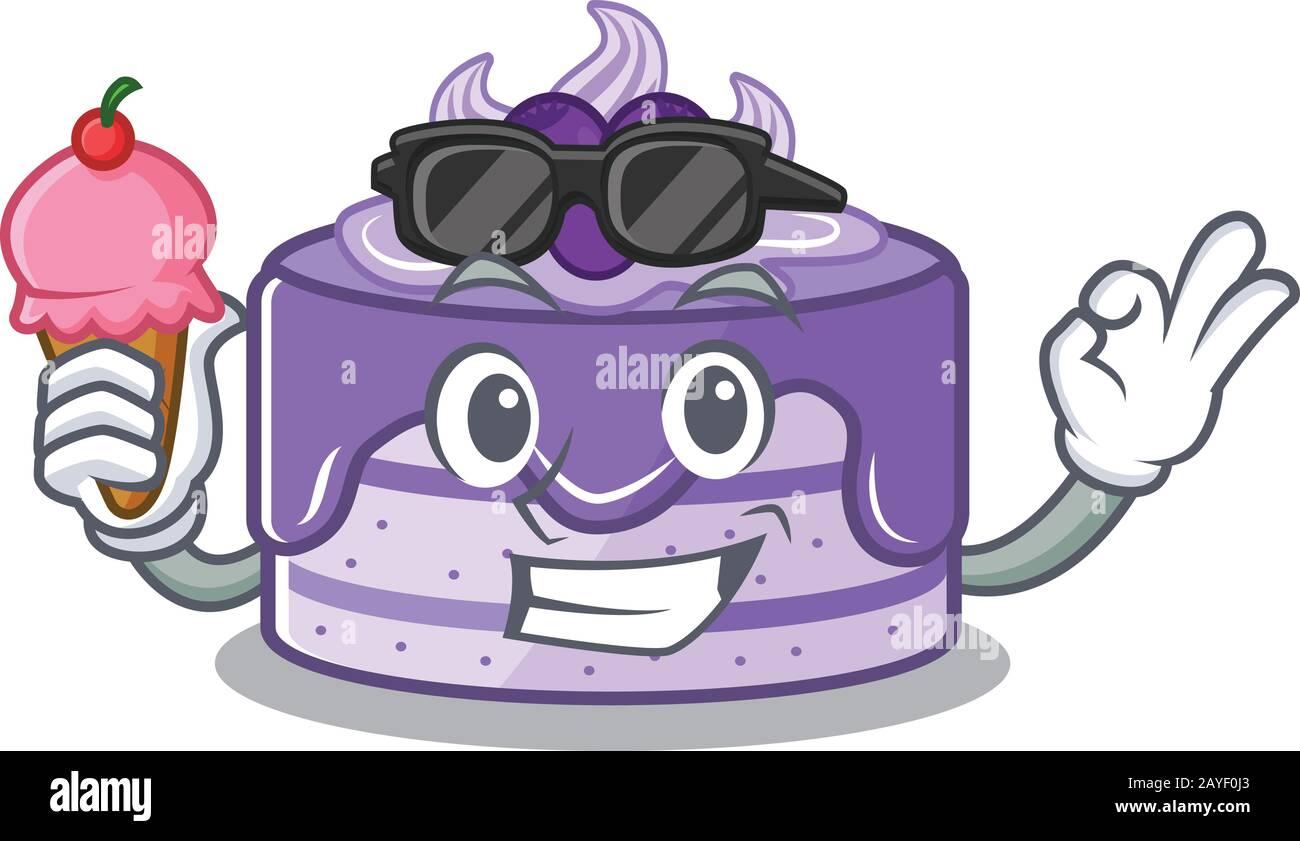 joyeux visage gâteau aux bleuets dessin animé avec crème glacée Illustration de Vecteur