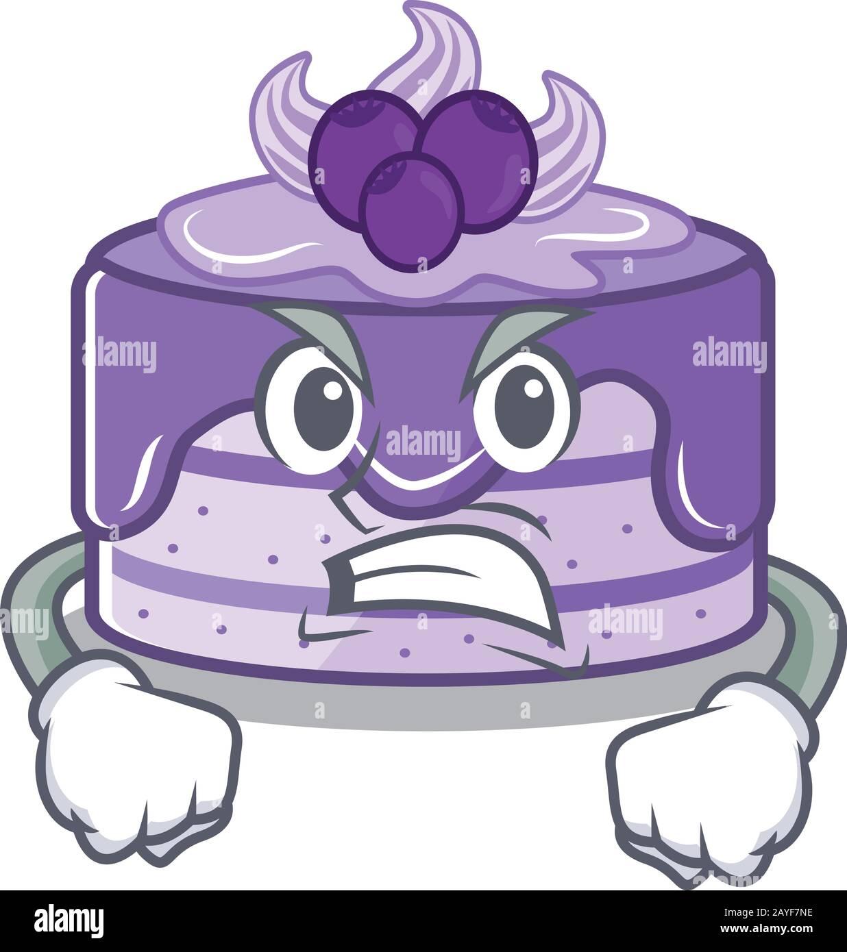 Gâteau aux bleuets dessin animé style personnage ayant le visage en colère Illustration de Vecteur