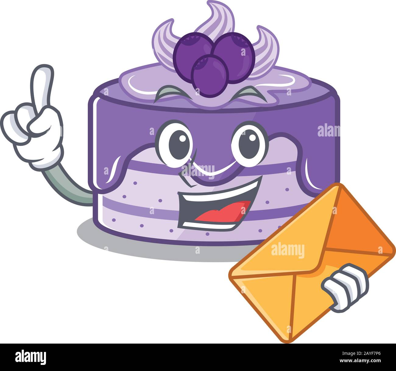 Motif mascotte à motif gâteau aux bleuets avec enveloppe Illustration de Vecteur