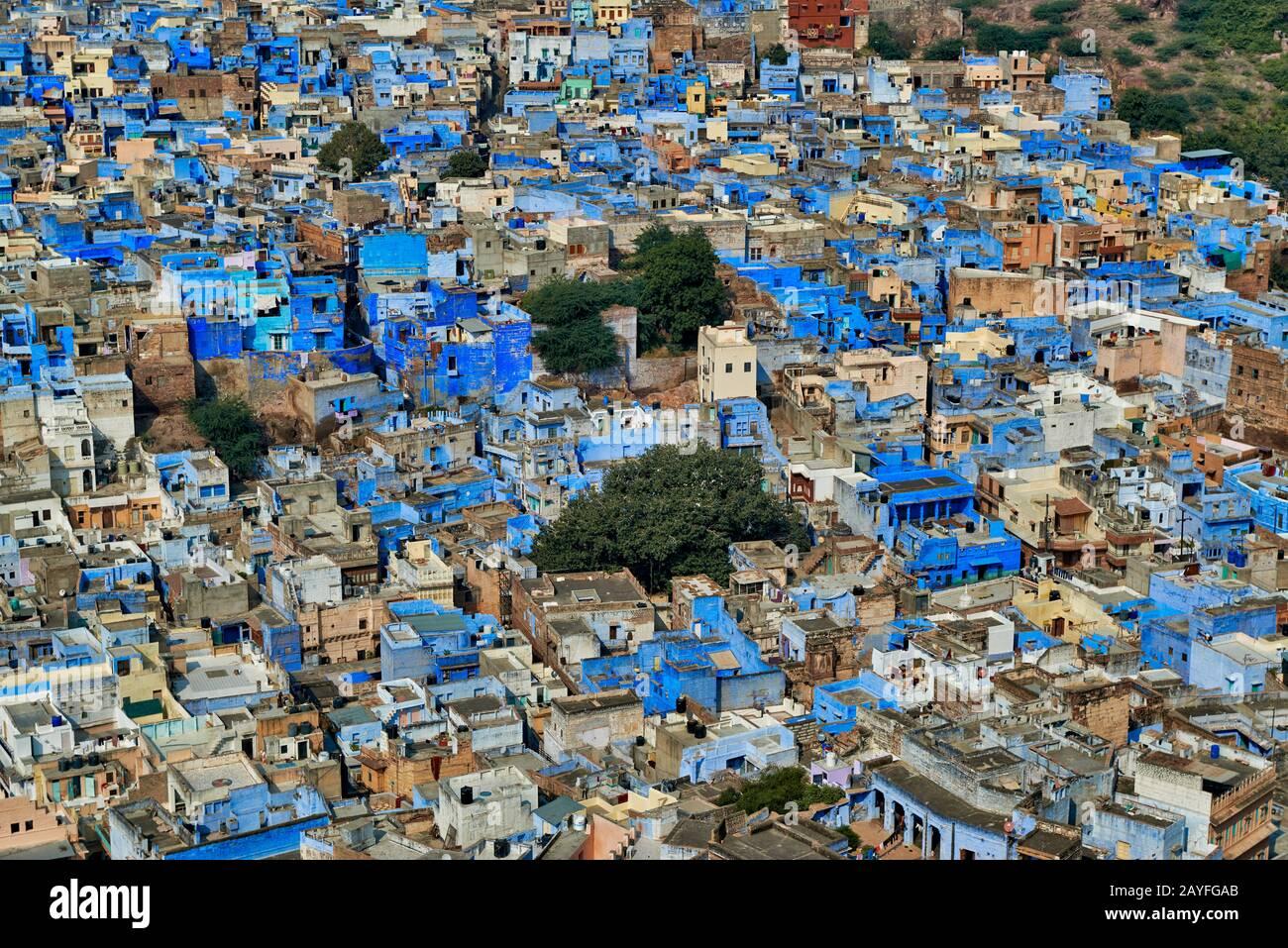 Vue aérienne de la ville bleue Jodhpur, Rajasthan, India Banque D'Images