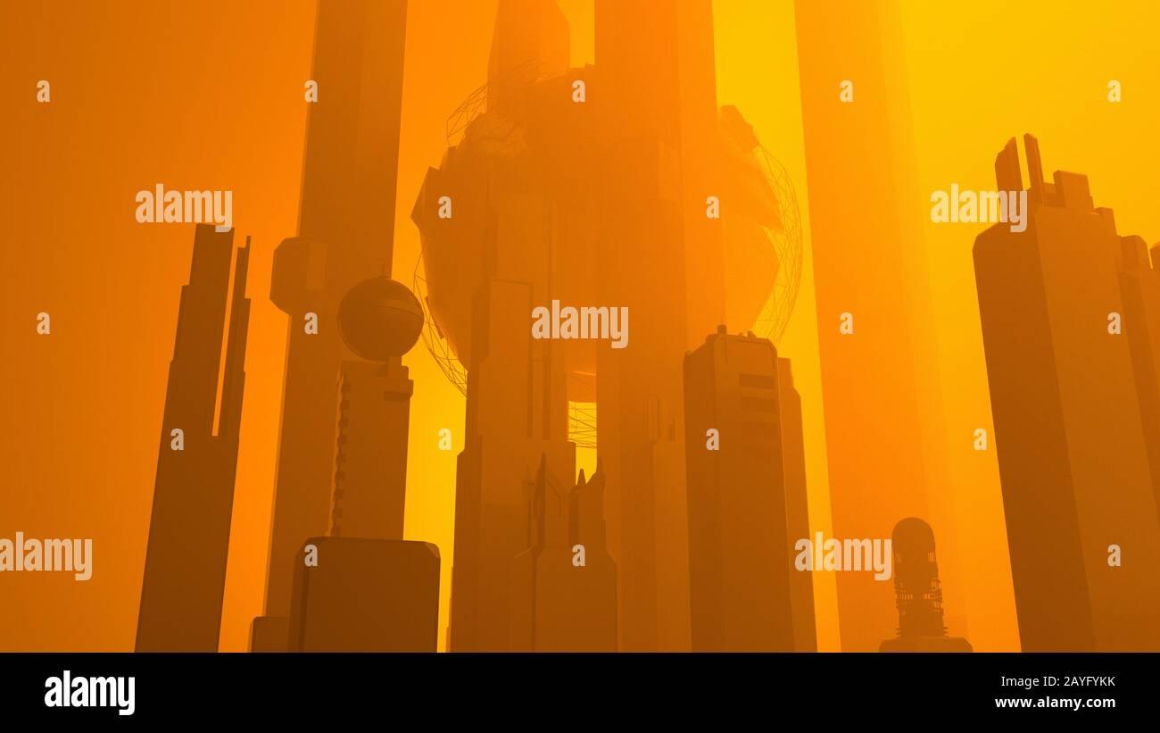 Image abstraite des gratte-ciel de la ville du futur sci-fi Banque D'Images