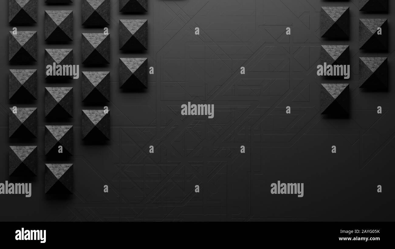 Image abstraite des pyramides disposées de façon asymétrique sci-fi Banque D'Images