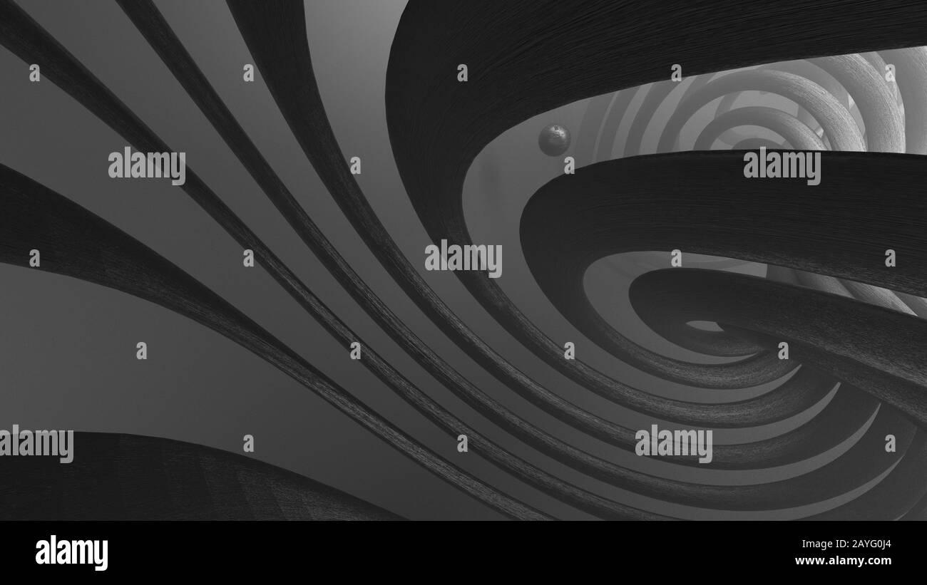 Image abstraite d'une spirale et d'une sphère sci-fi Banque D'Images