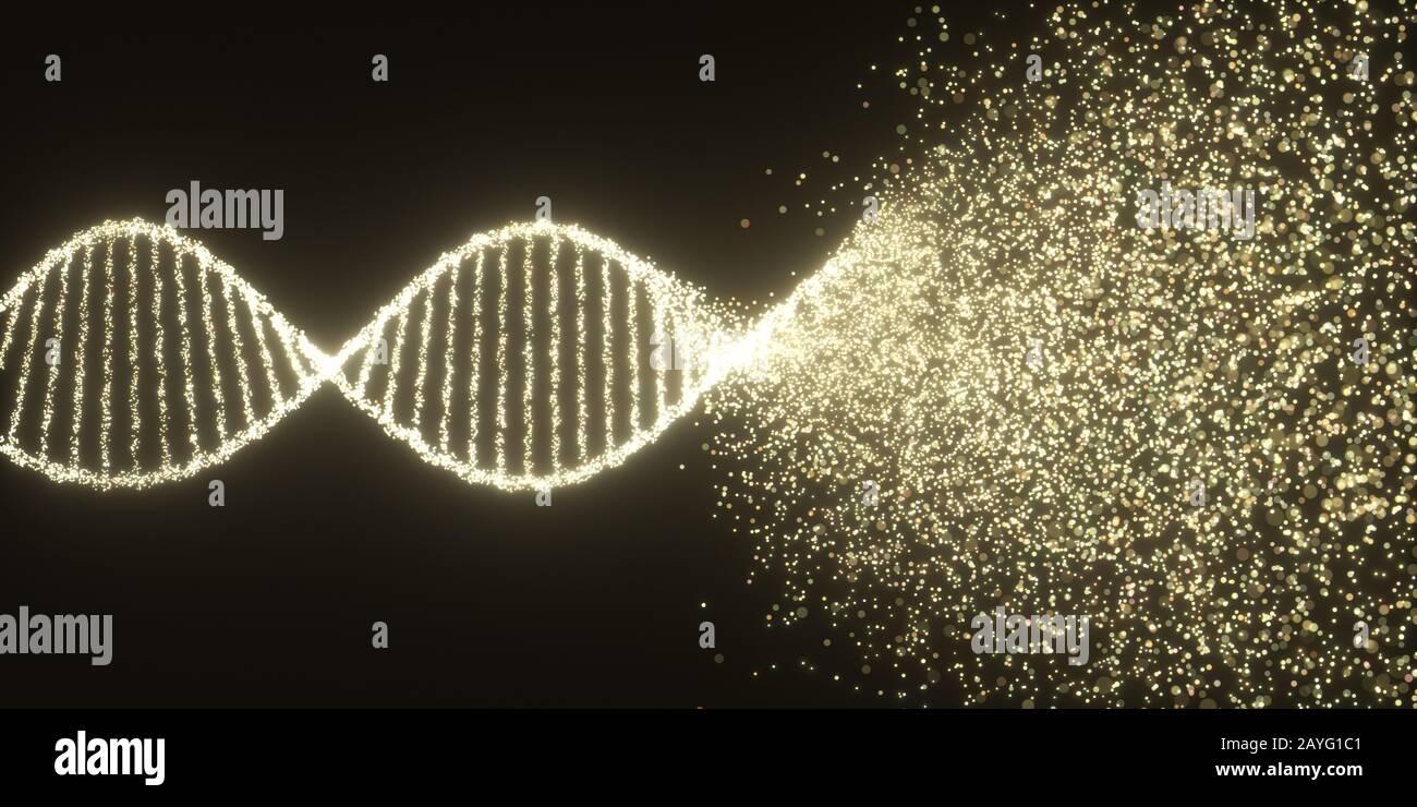 Molécule d'ADN coloré. Structure du code génétique. Syndrome génétique et maladie génétique, 3D illustration de la science concept. Banque D'Images
