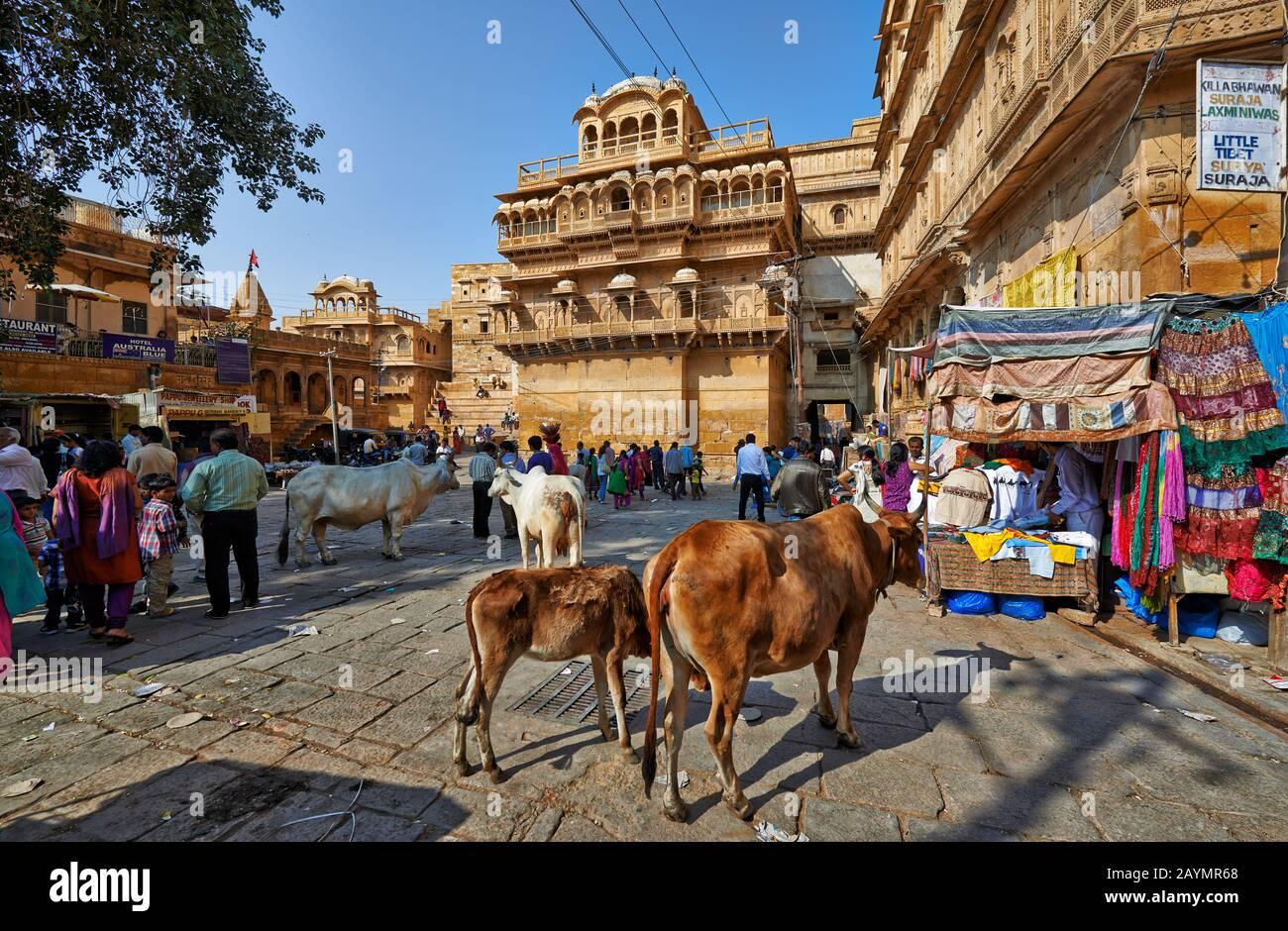 Raja Ka Mahal rois palais de Jaisalmer, Rajasthan, Inde Banque D'Images