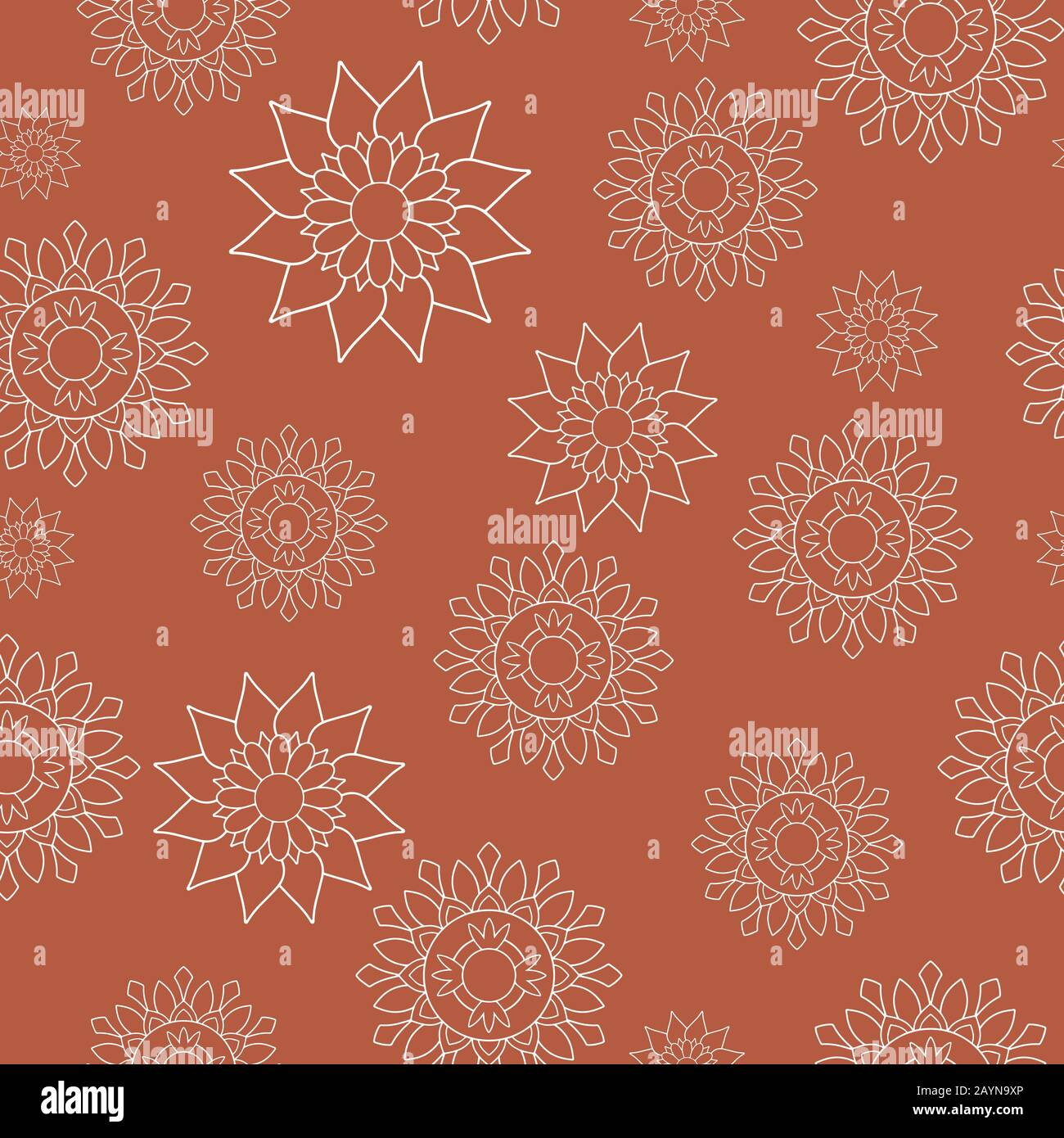Motif de répétition sans couture, style oriental. Mandalas à fleurs blanches sur fond orange. Motifs décoratifs orientaux parfaits pour l'impression sur tissu ou papier. Illustration de Vecteur