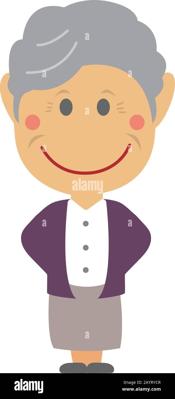 Illustration vectorielle homme déformée ( grand-mère,femme âgée) Illustration de Vecteur