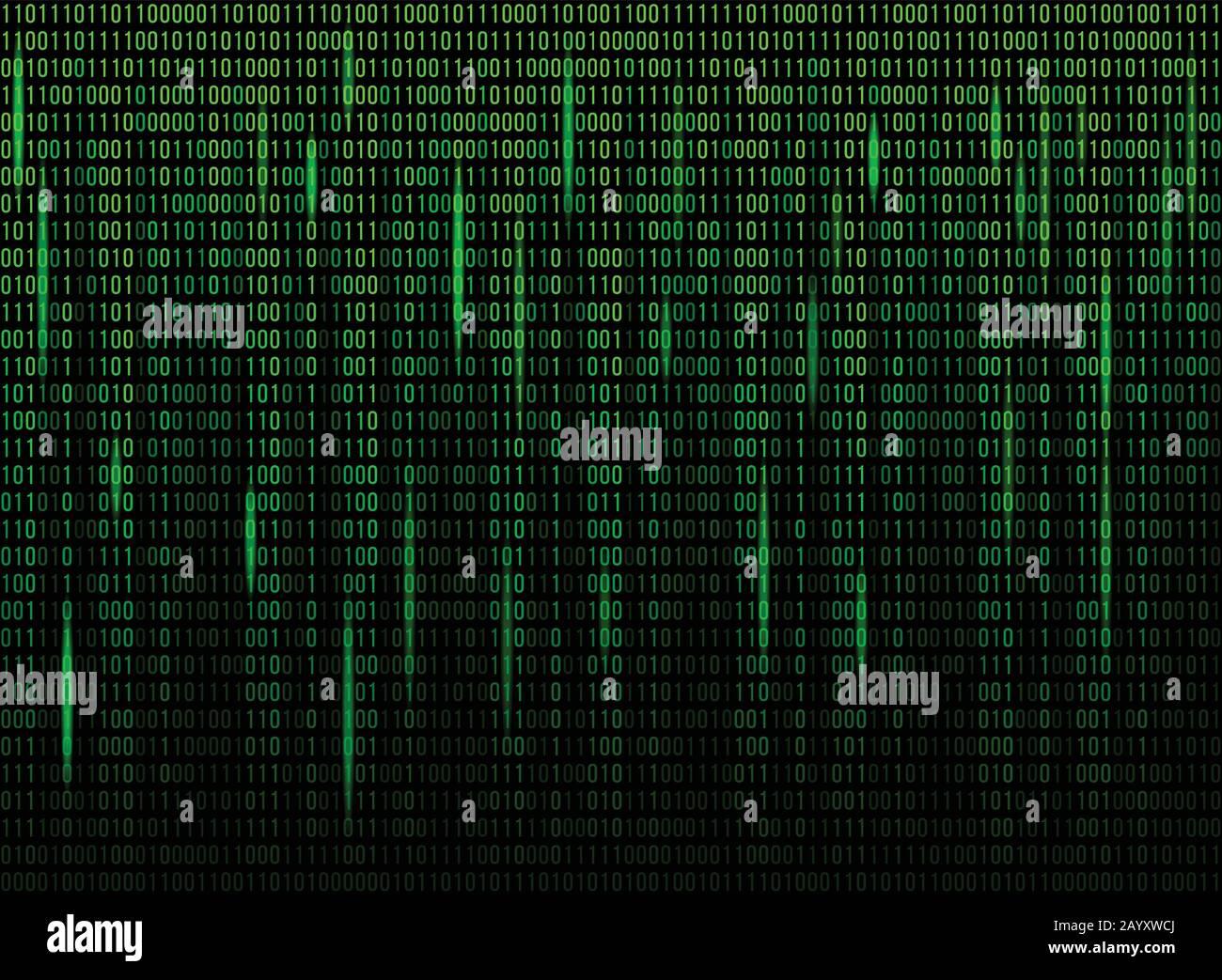 Code de données binaires de l'écran de l'ordinateur. Code numérique continu en vert, données Web abstraites en code binaire. Illustration vectorielle Illustration de Vecteur