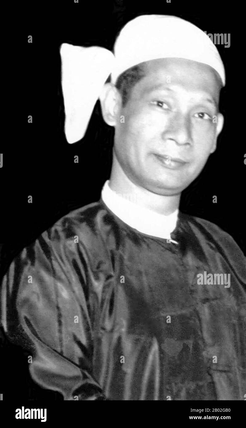 BA Swe (17 octobre 1915 – 6 décembre 1987) était le deuxième premier ministre de Birmanie. Il a été un homme politique birman de premier plan au cours de la décennie qui a suivi l'indépendance du pays vis-à-vis de la Grande-Bretagne en 1948. Il a occupé le poste de premier ministre du 12 juin 1956 au 28 février 1957. Banque D'Images