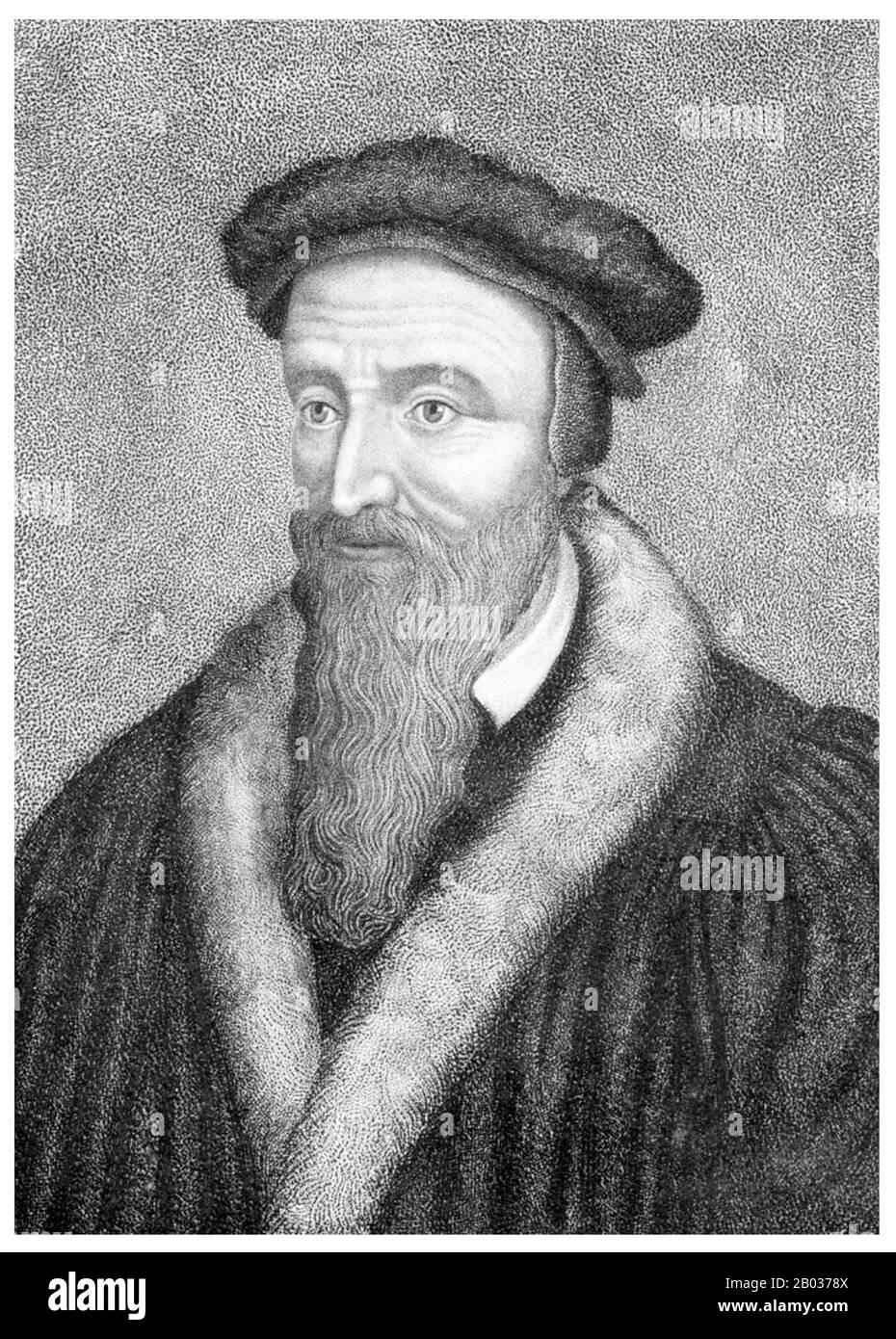 John Calvin, né Jehan Cauvin : 10 juillet 1509 – 27 mai 1564) a été un théologien et pasteur français influent pendant la réforme protestante. Il était une figure principale dans le développement du système de théologie chrétienne plus tard appelé Calvinisme, dont les aspects incluent les doctrines de la prédestination et de la souveraineté absolue de Dieu dans le salut de l'âme humaine de la mort et de la damnation éternelle. Diverses églises congrégationales, réformées et presbytériennes, qui semblent Calvin comme le principal exposé de leurs croyances, se sont répandues dans le monde entier. Banque D'Images