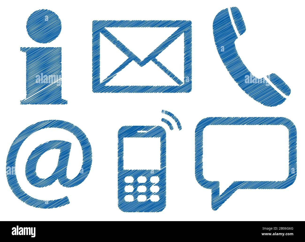 Contactez-nous, jeu de six icônes colorées de conception de griffonnage isolées sur fond blanc Illustration de Vecteur