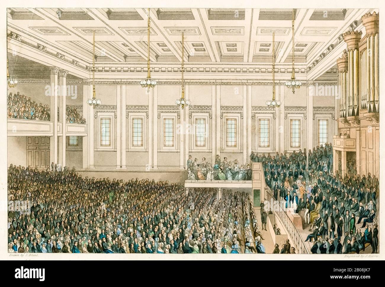 Réunion de la Société pour l'extinction de la traite des esclaves et pour la civilisation de l'Afrique, 1 juin 1840, Exeter Hall - HRH Prince Albert le Président a présidé, en caractères d'imprimerie, S. Blunt, James Harris, 1840 Banque D'Images