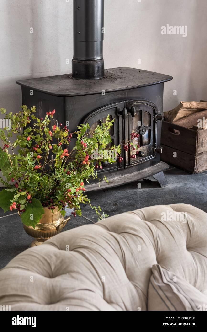 Urne en laiton vintage remplie de boutures sur le foyer avec brûleur en rondins Banque D'Images