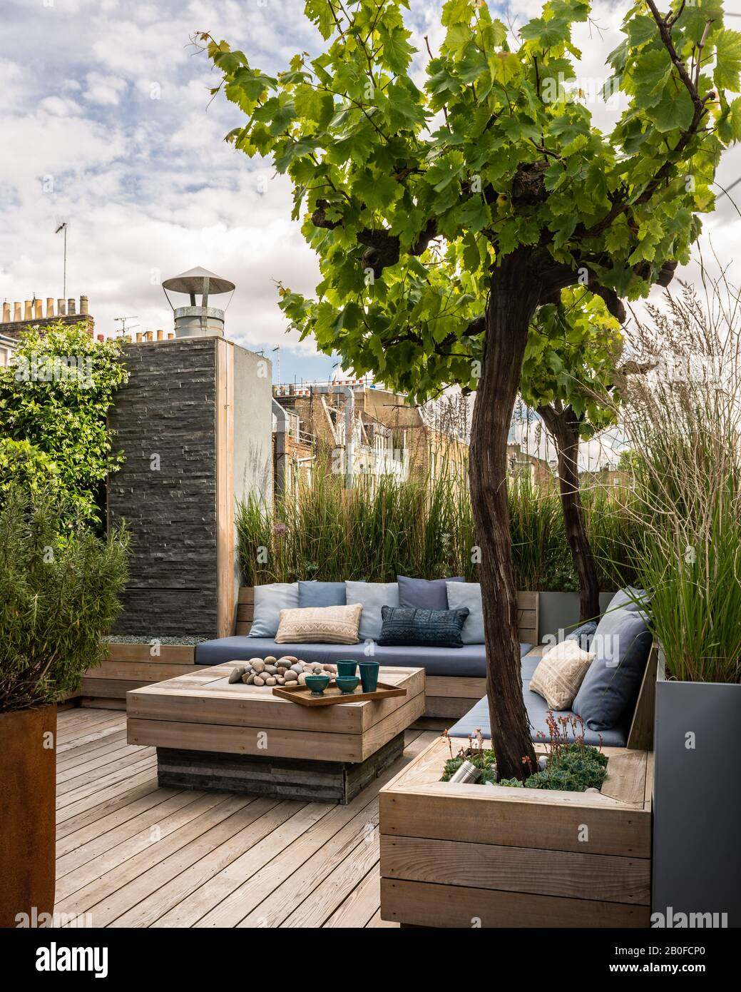 Jardin design par Adolfo Harrison sur la terrasse sur le toit de l'appartement ouest de Londres Banque D'Images