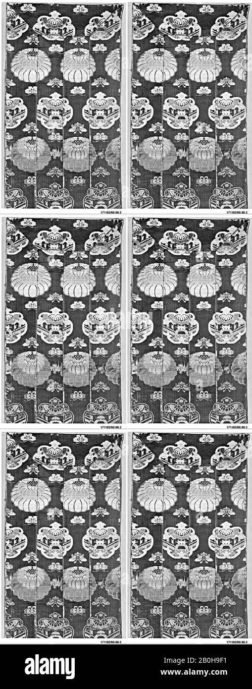 Stole du prêtre (O-Hi), Japon, XVIIe siècle, Japon, soie, fil métallique, 63 1/2 x 12 po. (161,29 x 30,48 cm), textiles-tissés Banque D'Images