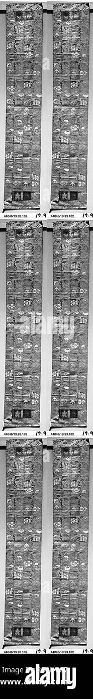 Stole du prêtre, Japon, période Edo (1615–1868), Date CA. 1625, Japon, soie, filetage métallique, 64 x 11 po. (162,56 x 27,94 cm), textiles-costumes Banque D'Images