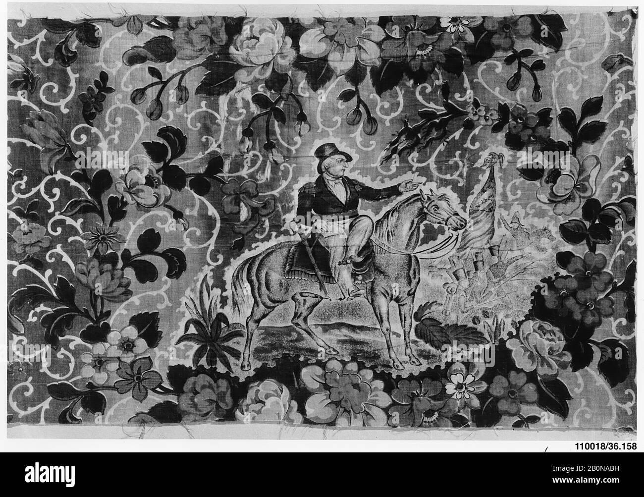 Pièce, américaine, CA. 1846–48, américain, coton, gravé, imprimé à rouleaux, 25 x 16 po. (63,5 x 40,6 cm), textiles Banque D'Images
