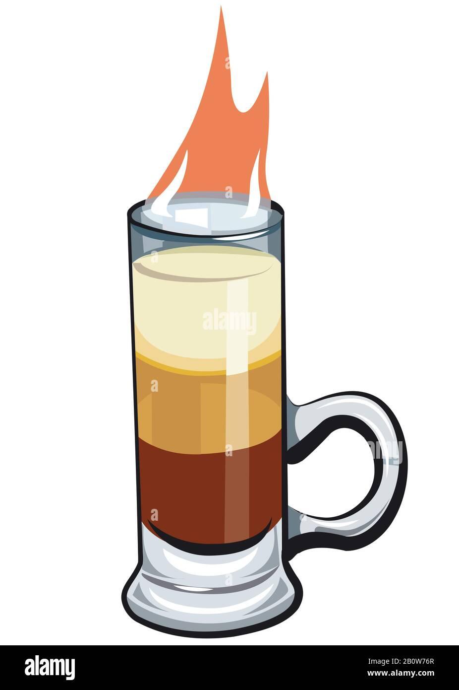 Illustration du cocktail fort d'alcool B 52 Illustration de Vecteur