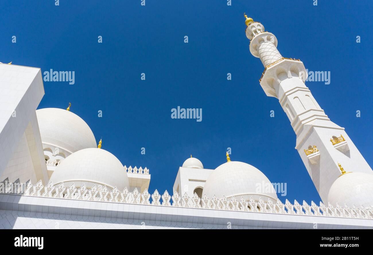 Minaret en marbre blanc de la Grande Mosquée Sheikh Zayed, Abu Dhabi Banque D'Images