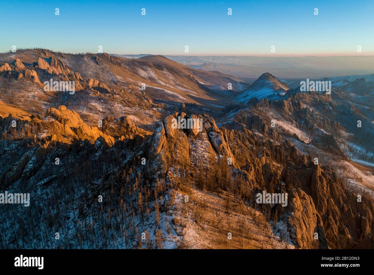 Coucher du soleil en Suisse, mongole, Parc National de Gorkhi-Terelj en Mongolie Banque D'Images