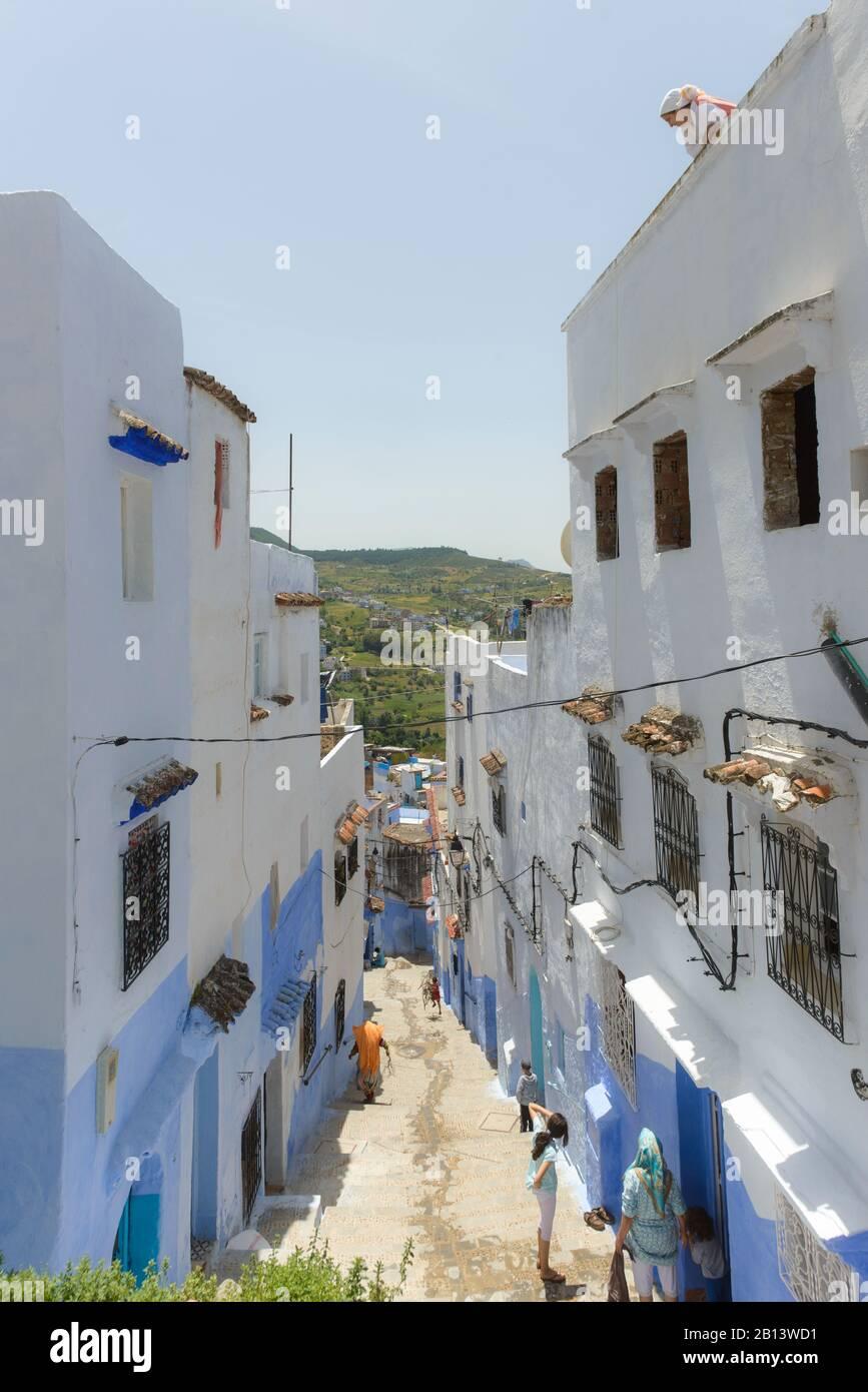 Rues et ruelles de la Médina de Chefchaouen, Maroc Banque D'Images