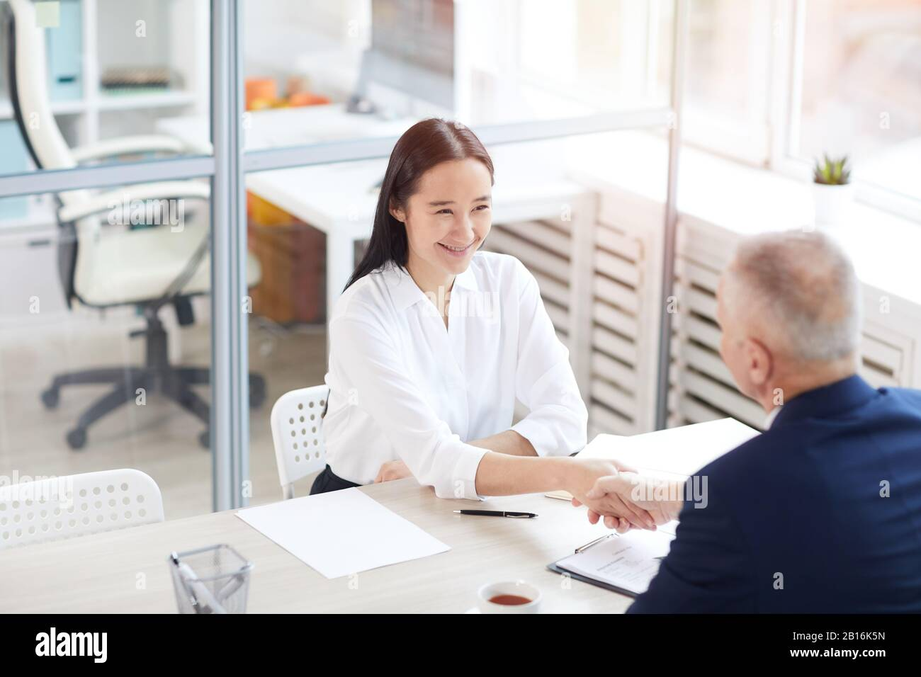 Portrait en grand angle de la jeune femme d'affaires asiatique souriant avec plaisir tout en secouant les mains avec un homme d'affaires à travers la table au bureau, espace de copie Banque D'Images