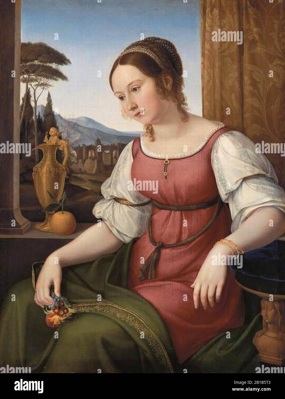 Friedrich Wilhelm Von Schadow - Portrait D'Une Jeune Femme Romaine (Angelina Magtti) - Banque D'Images