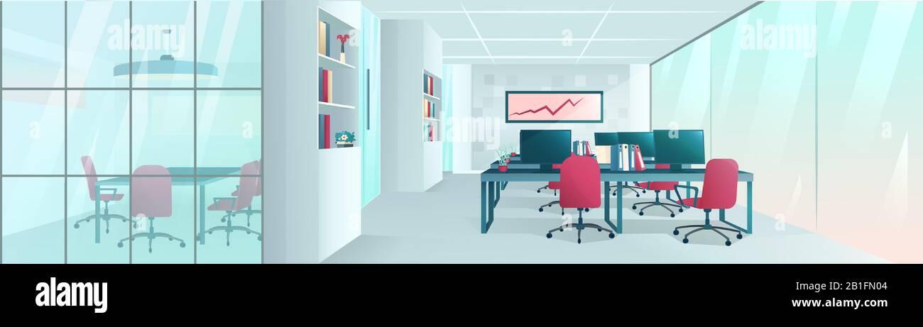 Vecteur d'un espace de travail créatif moderne à l'intérieur de bureau Illustration de Vecteur