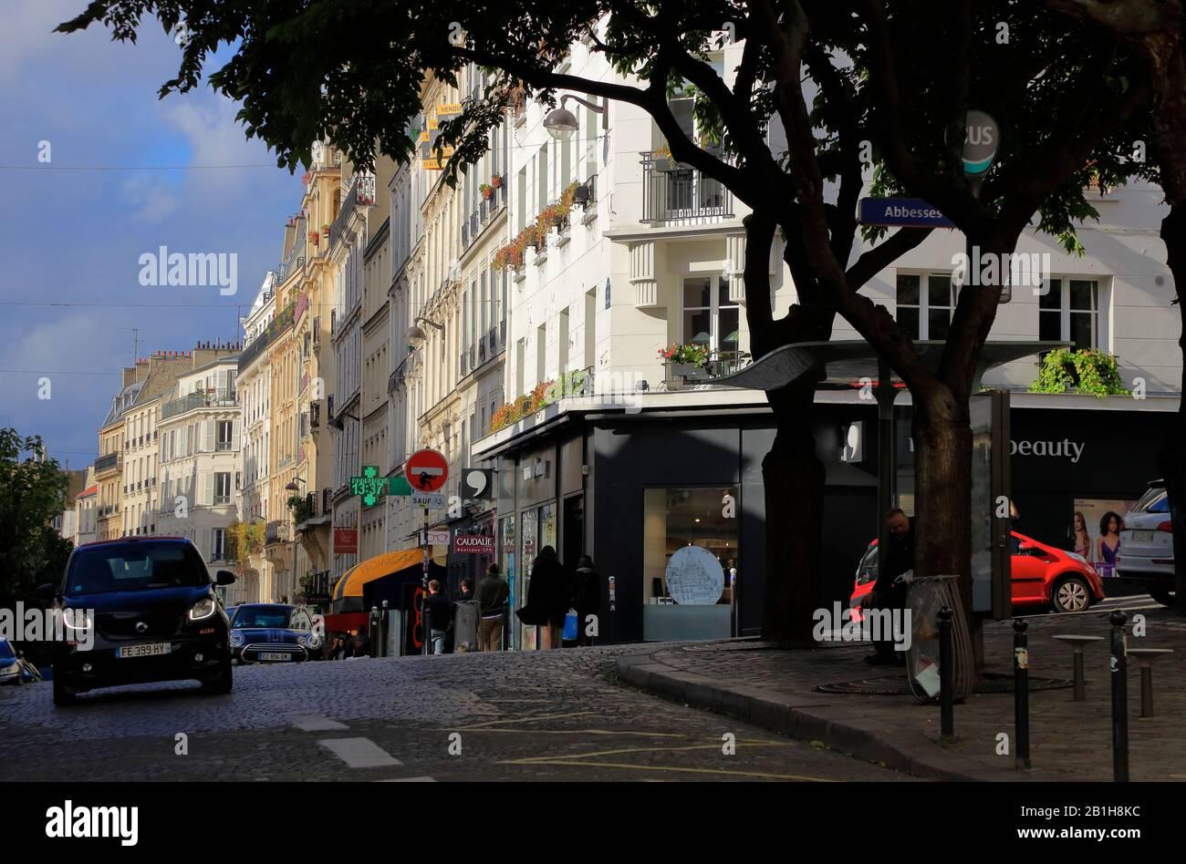 Rue des Abbesses à Montmartre.Paris.France Banque D'Images
