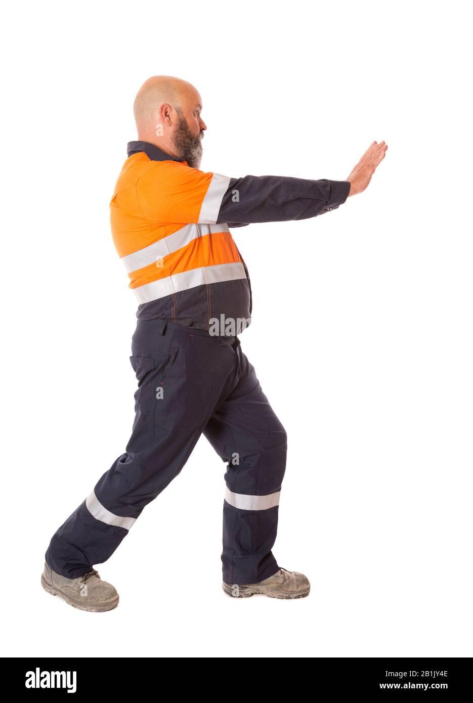 Exercices d'étirement avant démarrage pour réduire les blessures sur le lieu de travail. Série sur fond blanc. Banque D'Images