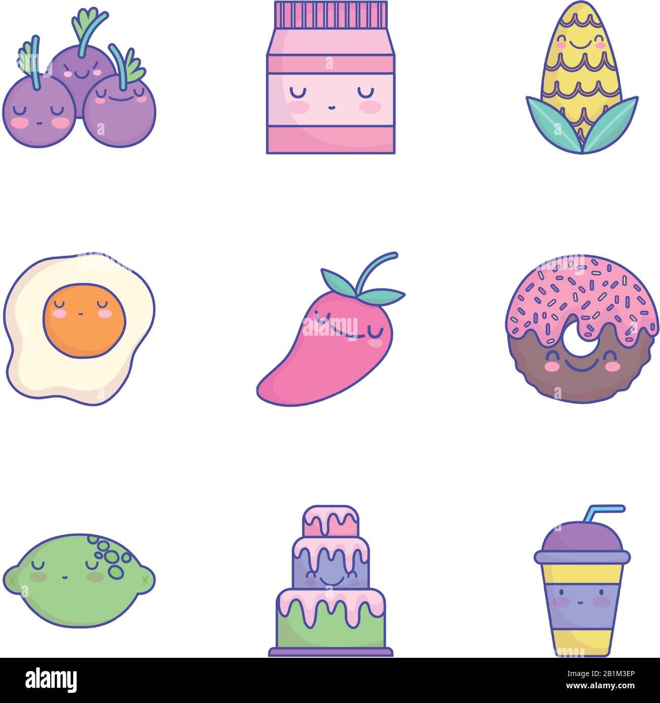 nourriture mignon dessin animé menu de caractère restaurant icônes de régime set illustration vectorielle icône de style plat Illustration de Vecteur