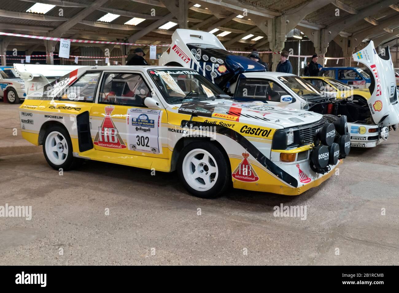 Audi Quattro S 1 E 2 voitures de rallye historiques à Race Retro Stoneleigh Park Warwickshire Royaume-Uni Banque D'Images