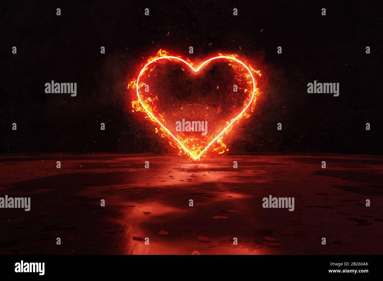 le rendu tridimensionnel de la forme du cœur rouge est plus clair dans le feu contre le fond de la paroi de grunge Banque D'Images
