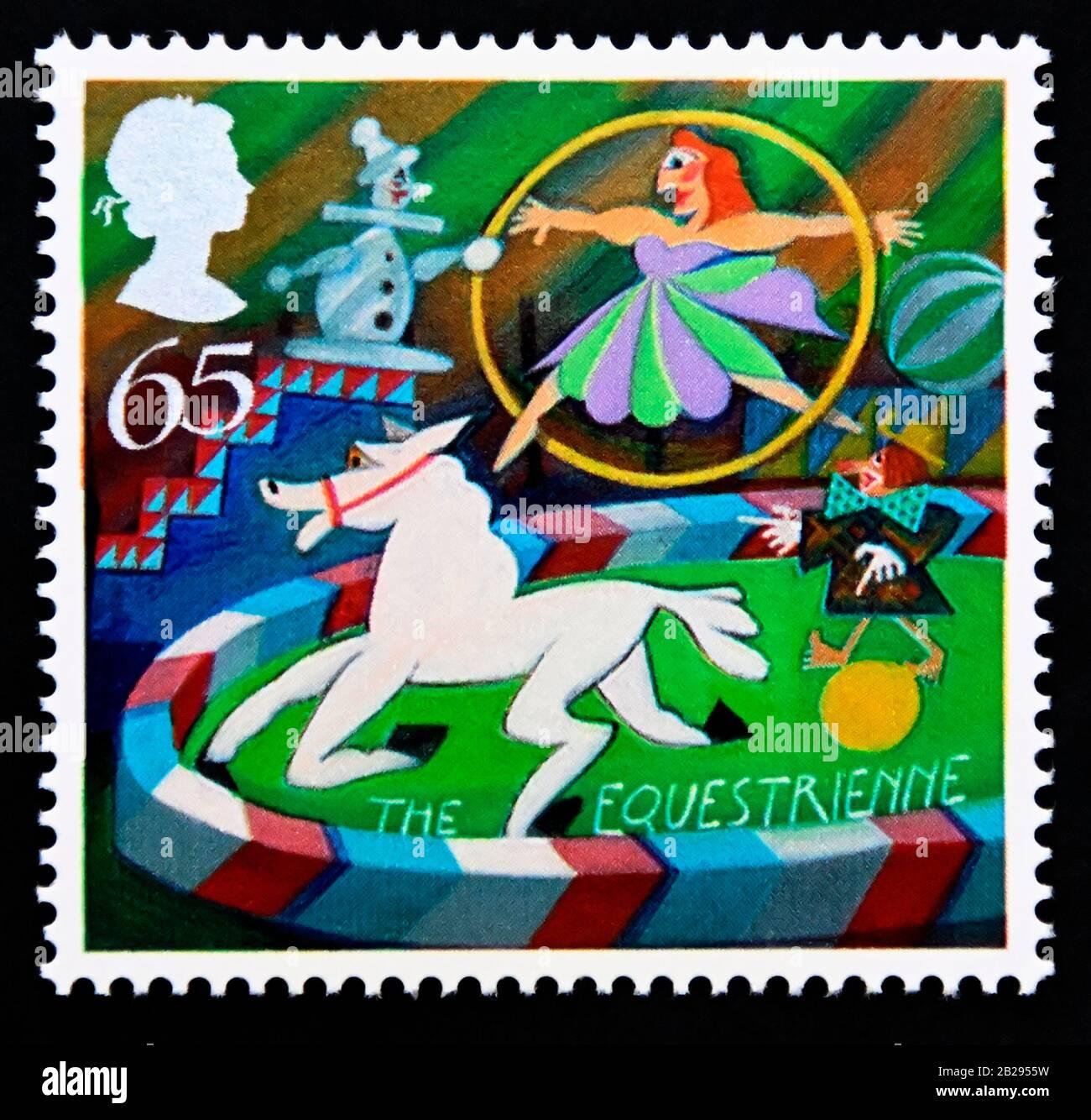 Timbre-poste. Grande-Bretagne. La reine Elizabeth II Europa. Cirque. L'Équestrienne. 65 p. 2002. Banque D'Images