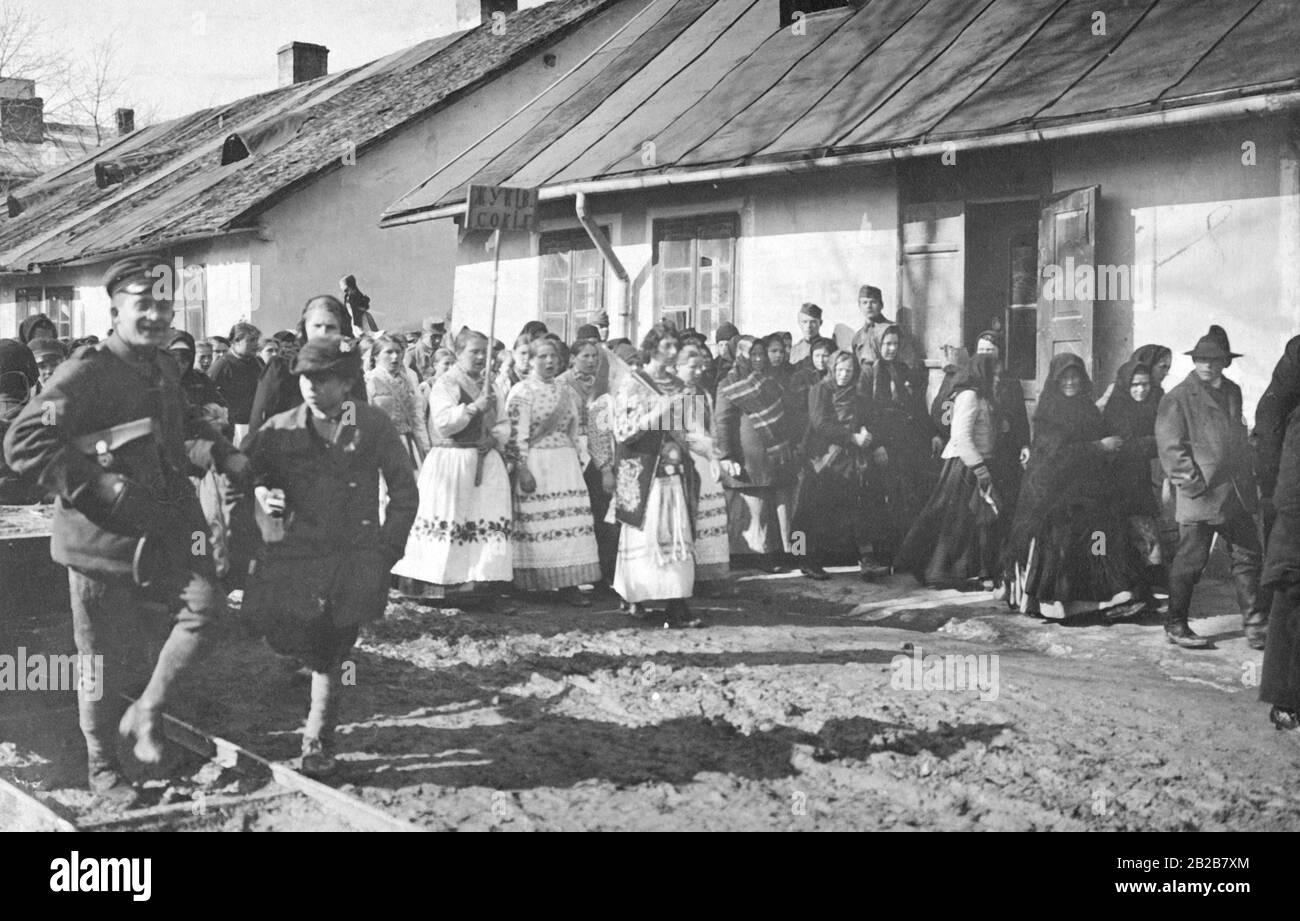 Rallye de Thanksgiving du peuple ruthène à l'occasion de la libération de l'Ukraine. Banque D'Images