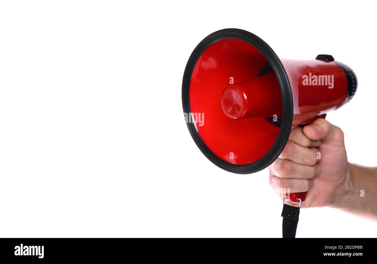 Rouge Megaphone sur fond blanc Banque D'Images