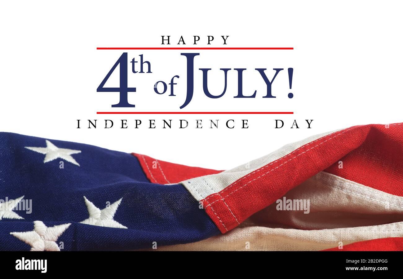 Drapeau américain avec accueil du jour de l'indépendance Banque D'Images