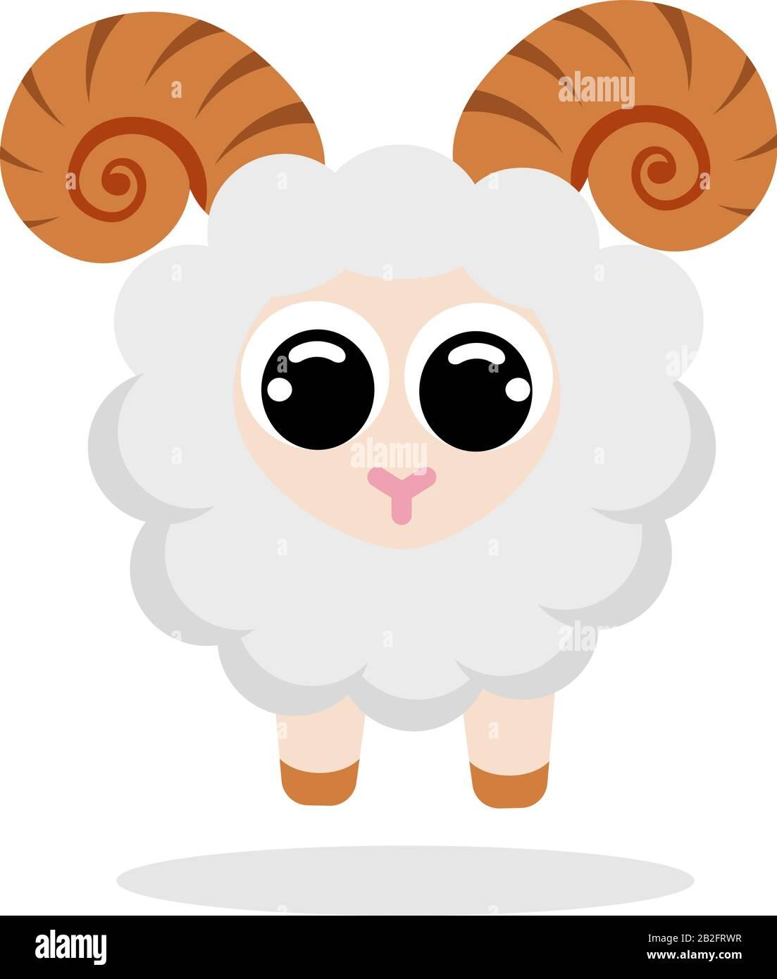 mouton en image vectorielle de style plat. Personnage de dessin animé. Illustration du brut vectoriel plat sur fond blanc Illustration de Vecteur