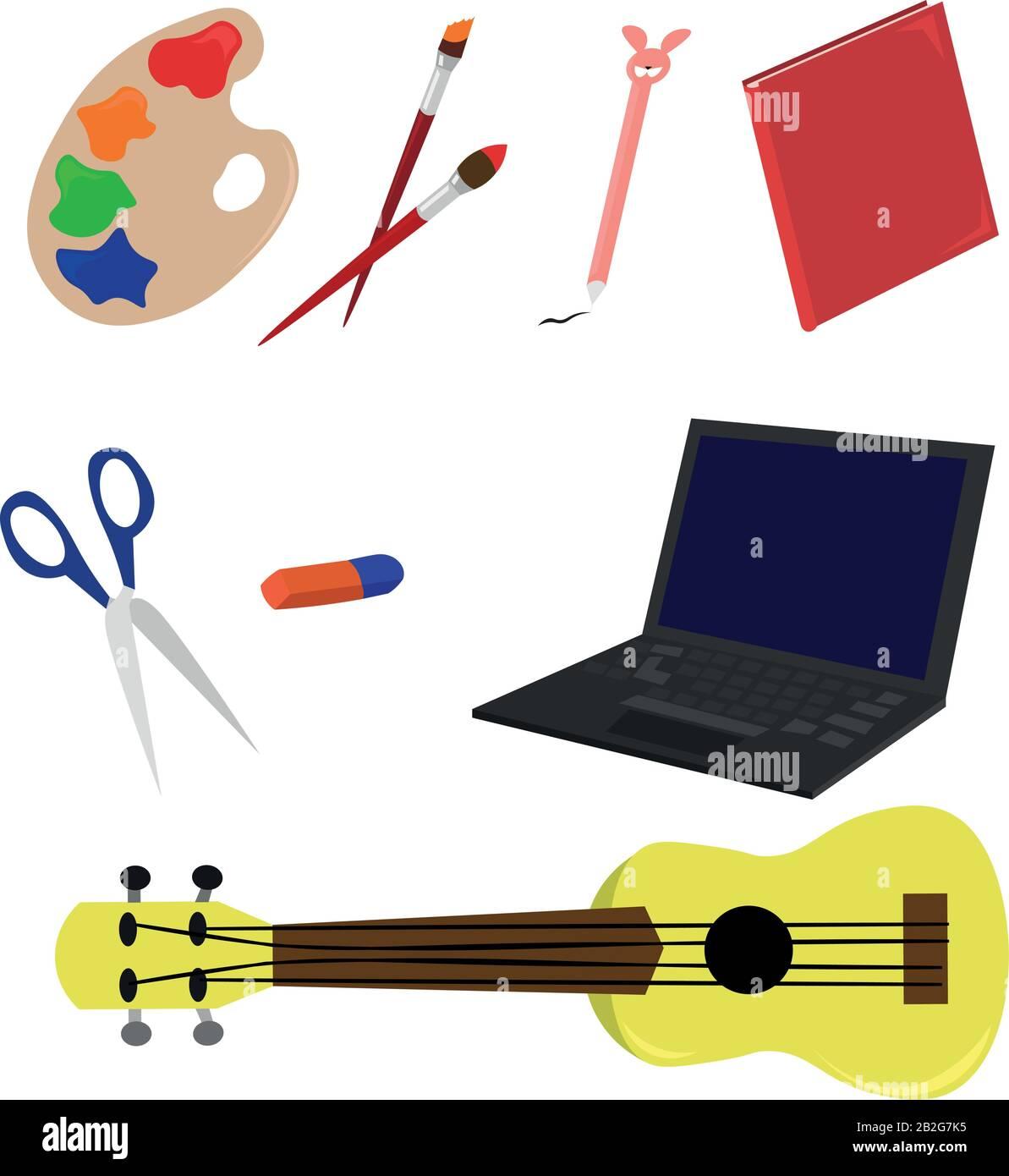 Définir les articles de passe-temps. Dessin, musique et jeux. Lecture, poèmes et compétence. Illustration de Vecteur