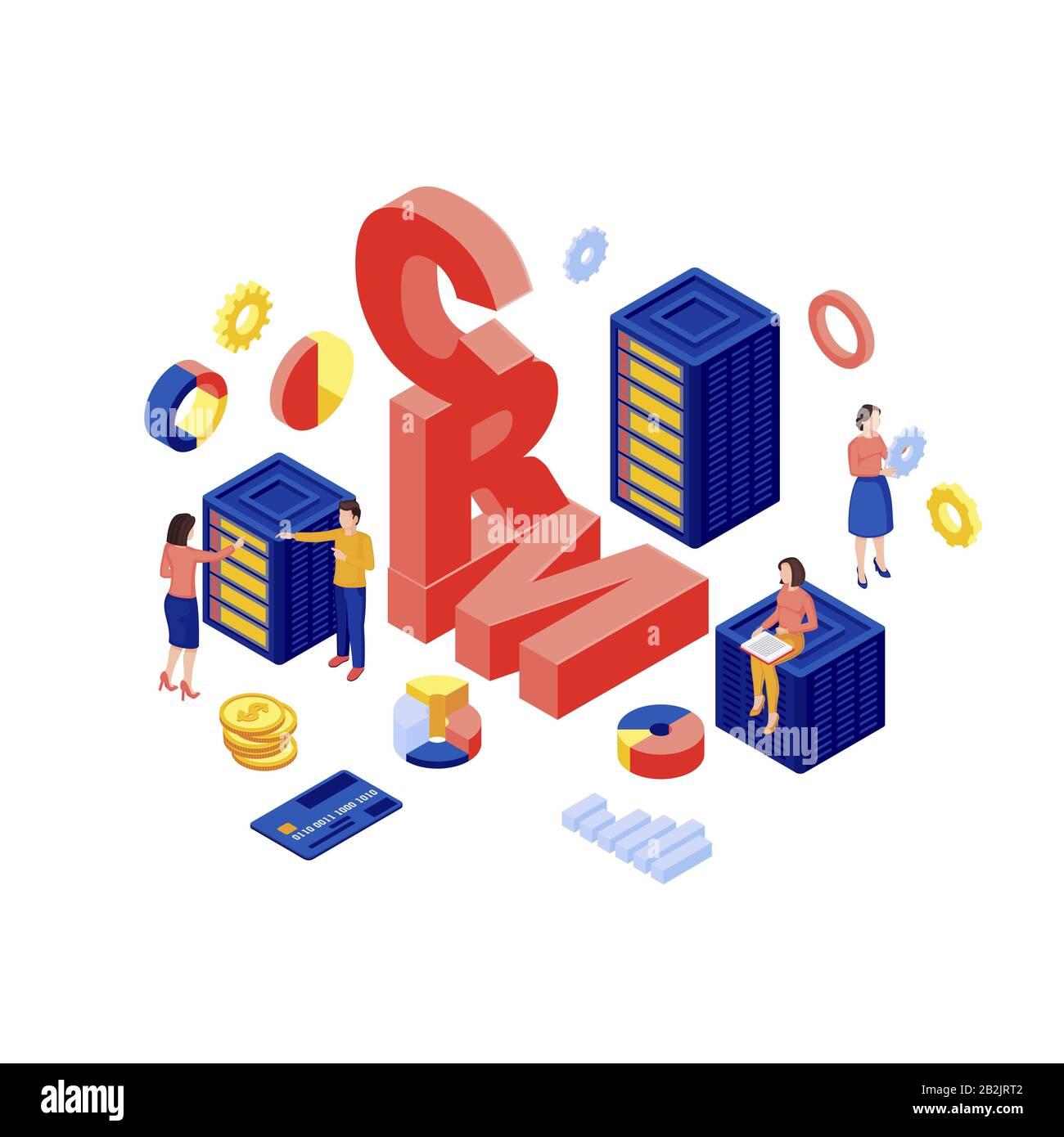 Illustration vectorielle isométrique de la base de données CRM. Stockage de données client, logiciel d'automatisation marketing concept tridimensionnel isolé sur fond blanc. Commerce Électronique Illustration de Vecteur