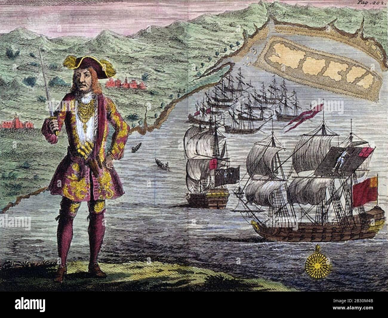 Histoire générale des Vols Et Meurtres des Pyrate Les Plus Connus - Capitaine Bartholomew Roberts avec deux navires. Banque D'Images